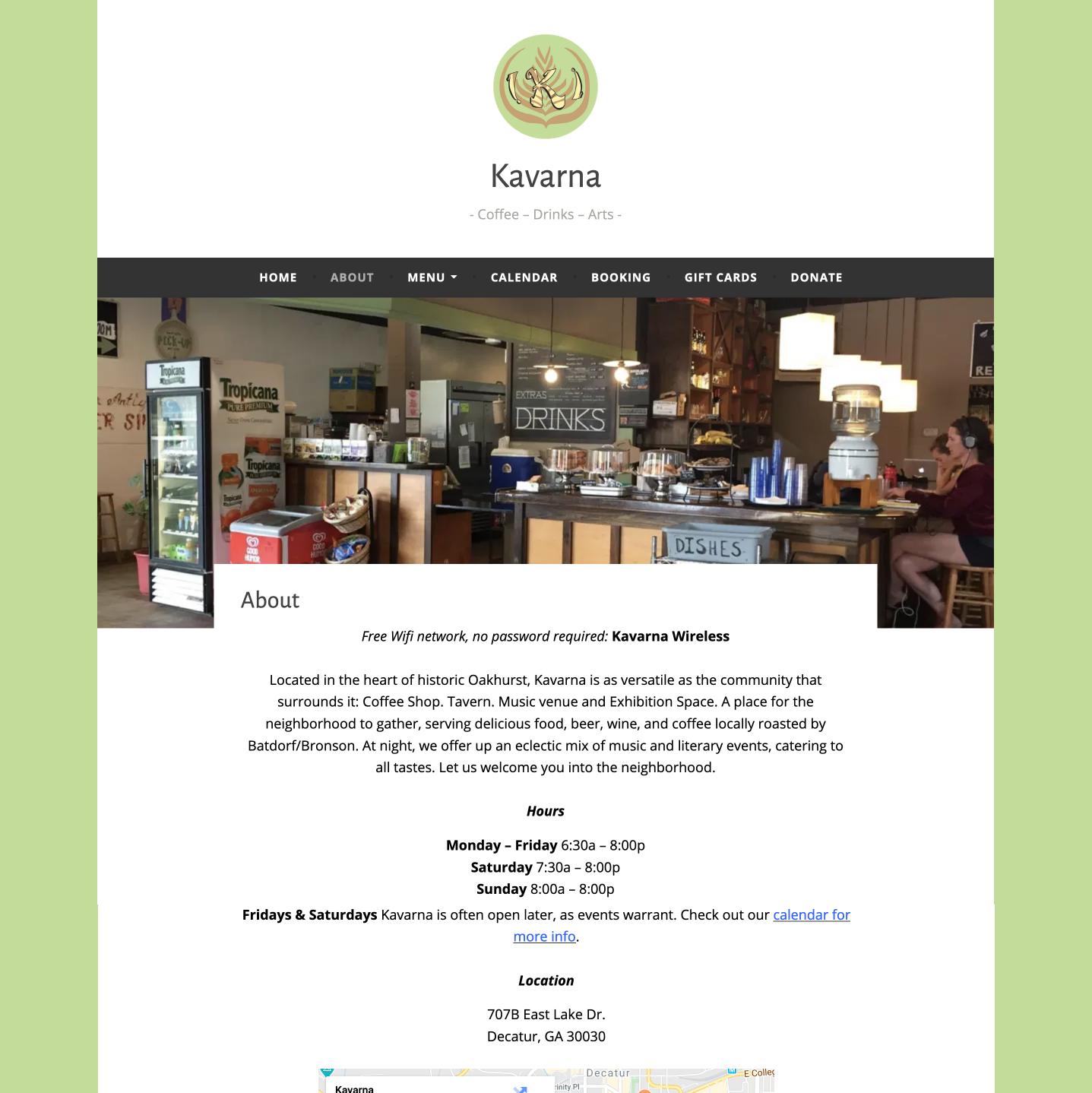 Atlanta Coffee shop website developed by Winnona Partners