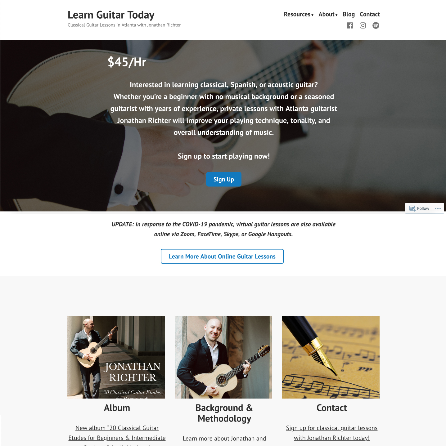 Atlanta classical guitarist website developed by Winnona Partners